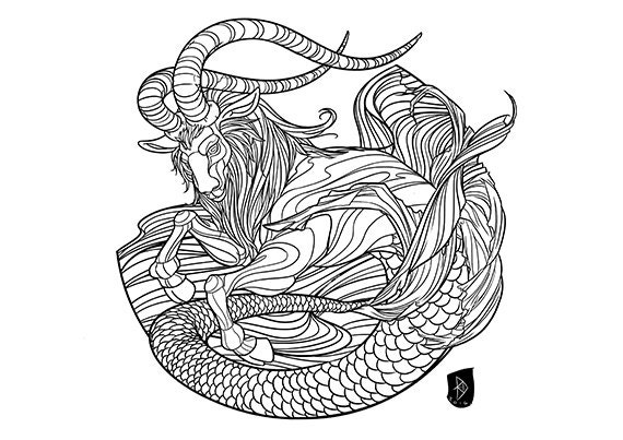 Adult Coloring Page Zodiac Sign Set CAPRICORN Instant