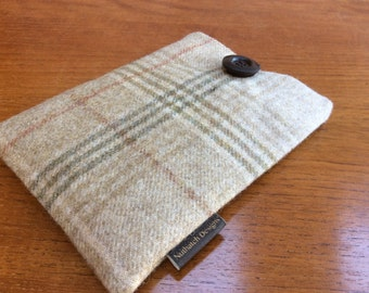 "Kindle paperwhite cover, kindle voyage, 6"" Fire HD, Kobo, Nook cover case, British wool tweed"