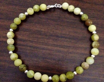 Sterling silver and yellow olive jade bracelet
