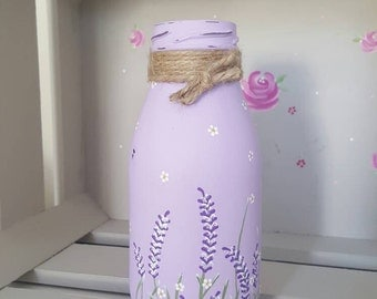 Hand Painted Mini Milk Bottle In Lilac Chalk Paint With Lavender Sprigs And Dot Daisies