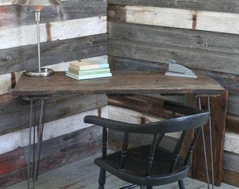Reclaimed barn wood table/desk on hairpin legs