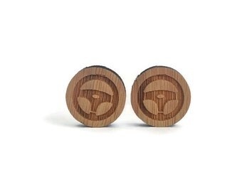 Steering wheel cuff links, wood steering wheel cuff links, wood cuff links, laser cut cuff links, men accessories, men's gift, father's gift