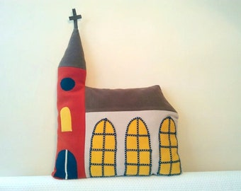 Decorative house pillow, church, gift for kids, kids toy, house plush, toddler gift, nursery decor, house pillow, stuffed house