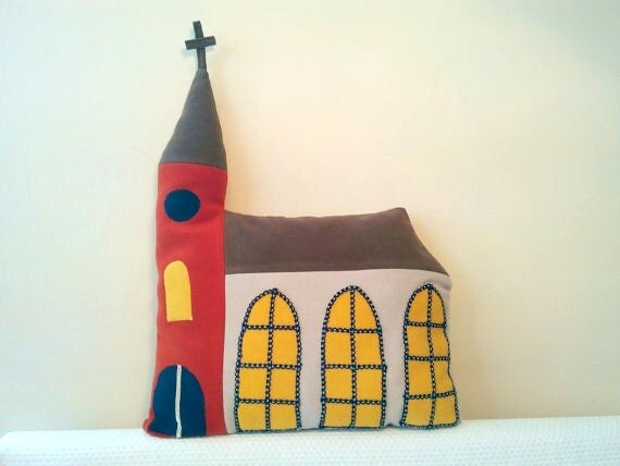 Toys For Church : Decorative house pillow church gift for kids toy