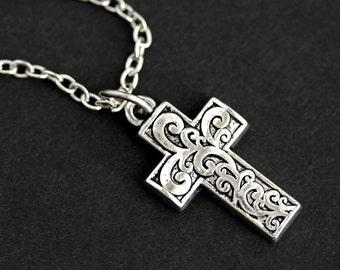 Christian Cross Necklace. Brocade Cross Charm Necklace. Silver Necklace. Christian Jewelry. Handmade Necklace.