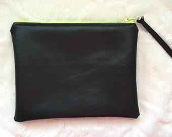 Zipper Pouch, Makeup Bag, Leather Zipper Pouch
