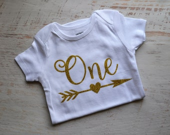 Baby Girl Gold First Birthday One Bodysuit