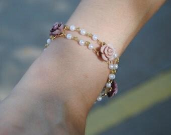 Vintage, Pearl And Flower, Dainty, Bracelet
