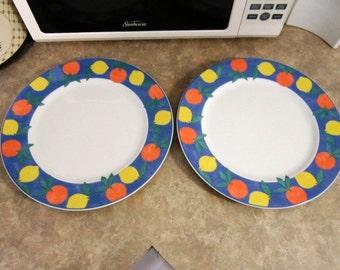 """Oranges & Lemons on Blue Band Set of 2 Dinner Plates 10 1/2"""" Vista Alegre"""