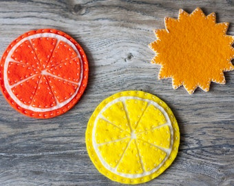Felt coasters 4pcs. Lemon, Orange, Sun
