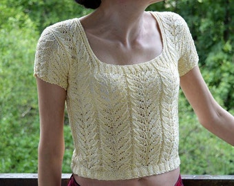 Handknit Yellow Blouse With Short Sleeves Blouse With Short Sleeves Yellow Blouse Handknit Blouse Handmade Blouse Viscose
