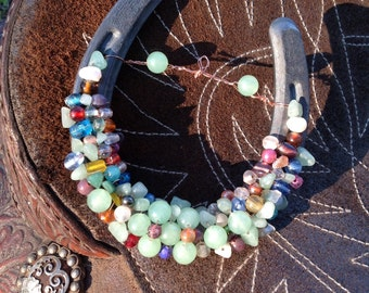 Seafoam Beaded Horseshoe