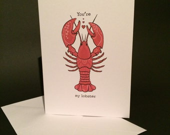 You're my Lobster!  Friends, Love, Valentines Card,