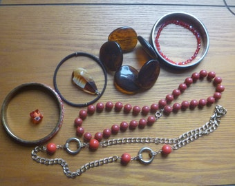 jewelery destash, red and brown salvage jewellery, craft supplies