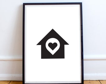 Home Is Where The Heart Is - Black and White Minimal Print