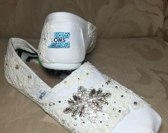 White TOMS with antique cream lace and Swarovski crystals