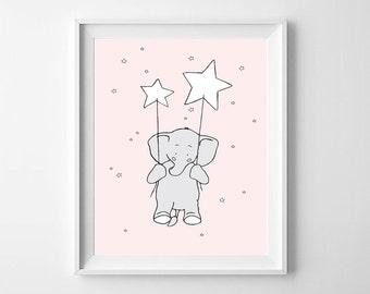 Elephant Printable Nursery wall Art,Elephant Nursery Pink Decor,Elephant Baby Room, Stars Nursery,Elephant Nursery,Elephant Girls Nursery,