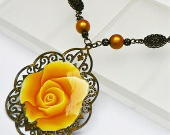 Retro filigree, pink, yellow polymer clay necklace