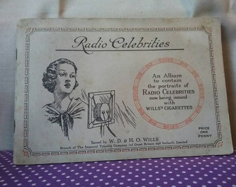 W.D and H.O WILLS Complete cigarette card album. 1930s. Radio celebrities.