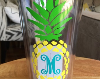 32 oz Personalized Pineapple Straw Tumbler - double-walled monogrammed cup