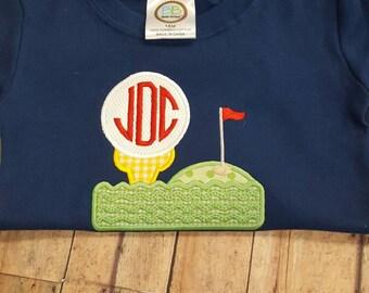 Golf monogram applique shirt