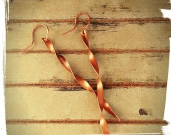 Copper Ribbons - Long Copper Earrings - Dangle Earrings/Modern Metals/Minimalist - Gift for Her