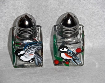 Chickadee Tiny Salt & Pepper, chickadee art, chickadees art, chickadee painting, chickadee, chickadee salt shakers
