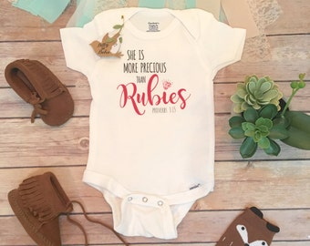 She is More Precious Than Rubies Baby Onesie®, Baby Shower Gift, Baby Girl Clothes, Religious Baby, Christian Baby, Trendy Baby Clothes