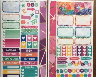Jeweled Medium Personal MM Stickers Louis Vuitton Mambi Inkwell Press Filofax Kikki K Happy Life Planner LV rainbow stained glass