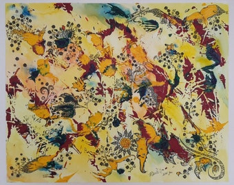 Original Abstract Acrylic + Watercolors Painting on Paper - Finding Flowers - 32x41cm - Modern Wall Art