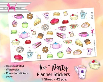 Tea - Party Sticker Handillustrated Watercolor Planner Filofax