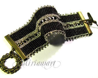 Gift for her, gift for mom - Elegance, victorian, retro Bracelet 2 - dark brown and gold