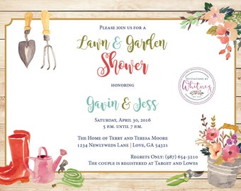 Rustic Watercolor Lawn and Garden Shower Digital Printable Invitation