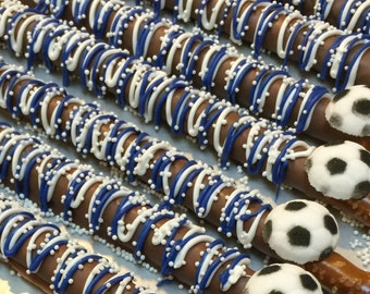 SOCCER Chocolate Pretzels*12 Count*Soccer Fan*Soccer Birthday*Soccer Team*Team Colors*