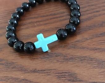 Black and Blue Cross beaded bracelet