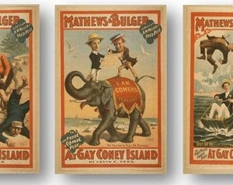 Vintage Gay New York Coney Island Play Drama Show Set of 3 Prints