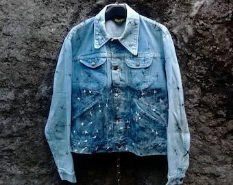 Vintage 70s Wrangler Denim Jacket Jean, Custom Painted