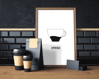 Coffee Expresso, digital print, coffee art, coffee print, coffee wall art, coffee prints, coffee poster,  coffee decor, compassionprints