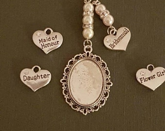 Bridal Wedding Bouquet Photo Charm Photo Frame Silver Pendant Locket and silver  Heart Charm & Gift Bag