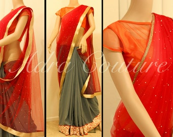 Grey red crepe with lace combined saree