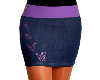 Skirt violet butterfly embroidery