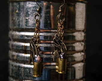 Black sparrow bullet earrings