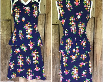 60s 70s mod suit, 60s skirt and shirt set, vintage suit women's, Skirt and shirt set, blue floral skirt, pointed collar shirt, vintage outfi