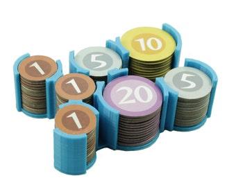 Währung Token Halter für Machi Koro & Häfen Erweiterung Brettspiel