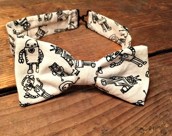 bow tie black and white robot