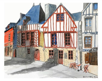 Postcard - Vannes, Brittany, watercolor, greeting card, decorative stationery, card motif