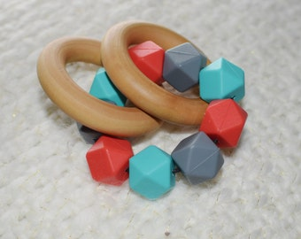 Baby Teether, Baby Teething Rings, Baby Toy, Maple Wood Ring Teether, Gift for Baby, Baby Shower, Infant, Red, Teal, Grey, Soothing Ring
