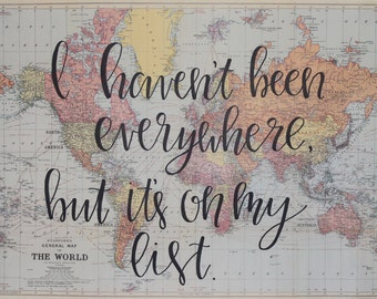 Personalized 20x28 Map with Quote (Free Shipping!)