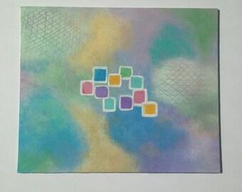 Original Abstract Art - Acrylic, Pastel space