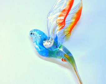 Glass Parrot Hanging Figurine
